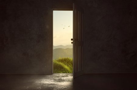 A door to a wonderful landscape is opening
