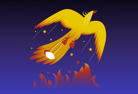 illustration of a phoenix flying upwards to the sky holding a breathe mask in his claws